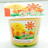 Květiny a bylinky v plastovém kelímku s potiskem - měsíček