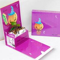 Květiny a bylinky v papírové dárkové kartičce s potiskem - Halloween motiv