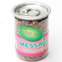 Kouzelná fazole v plastové plechovce se vzkazem