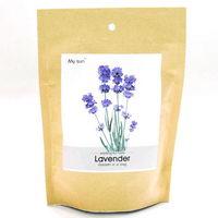 Květiny a bylinky v papírovém sáčku s potiskem - levandule