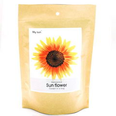 Květiny a bylinky v papírovém sáčku s potiskem - slunečnice